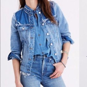 Madewell Frayed Two Tone Jean Jacket